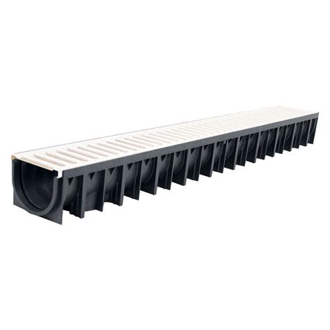 patio channel drain galvanised grate ral 9001 1m