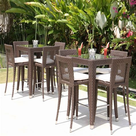 Outdoor Bar Stools And Table Set by Skyline Design Rattan Bar Stool And Table Set