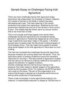Challenge Essay Exle by Sle Essay On Challenges Facing Agriculture
