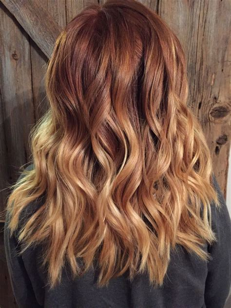 copper red ombre hair balayage copper red to blonde ombr 233 with balayage highlights hair