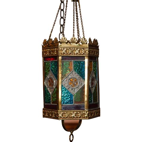 Stained Glass Light Fixture by A 19th Century Stained Glass Light Fixture From Jonathan