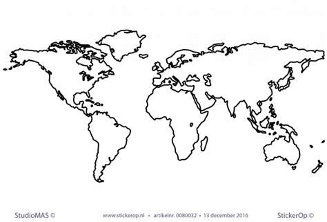 muurstickers thema de wereld outline wereldkaa