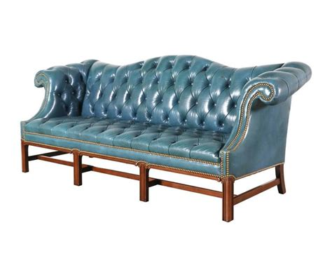 Vintage English Leather Teal Blue Chesterfield Sofa For Teal Chesterfield Sofa
