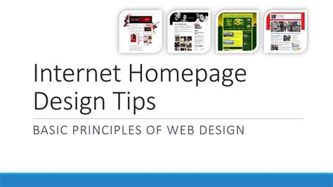 homepage design tips internet homepage design tips basic principles of web