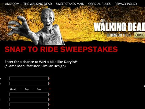 Sweepstakes Fanatics - the walking dead s snap to ride sweepstakes sweepstakes fanatics