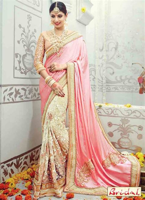 light pink and off white designer saree for wedding
