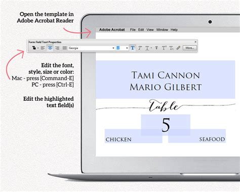 place cards with meal choice template couples place card templates 183 wedding templates and