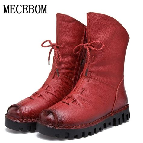 Handmade Shoes And Boots - new fashion genuine leather boots winter shoes
