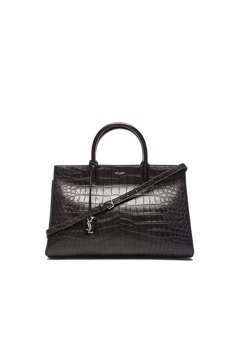 saint laurent medium monogram croc embossed cabas bag