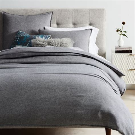herringbone bedding flannel herringbone duvet cover shams medium gray