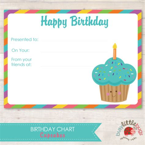 birthday chart template for classroom 8 best images of monthly birthday cupcake printables