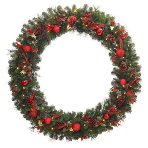 60 in battery operated red accented artificial wreath
