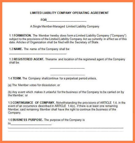 6 limited liability company agreement template company