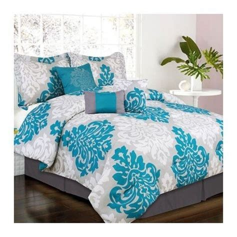 teal bed in a bag bed in a bag full king teal gray scroll 7 pc comforter set