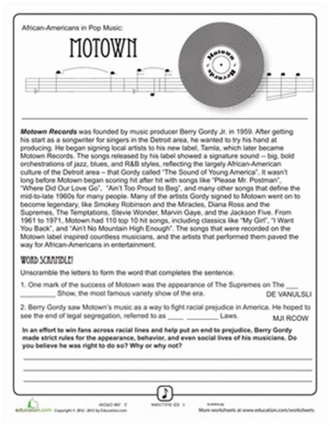 History Worksheets For Middle School by History Of Motown Worksheet Education