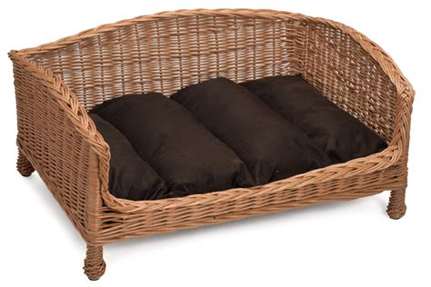 Small Settee Small Wicker Settee With Brown Cushion For Cats