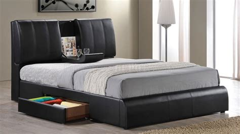 black upholstered bed 21270 kofi upholstered bed in black leatherette by acme