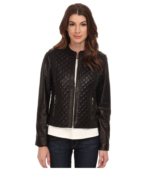 Collarless Quilted Leather Jacket cole haan collarless moto quilted leather jacket