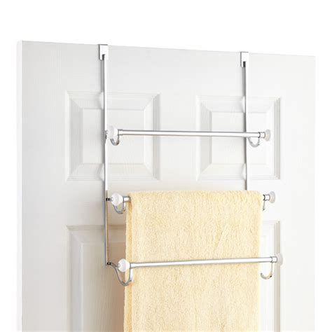 bathroom door towel racks york over the door towel rack the container store