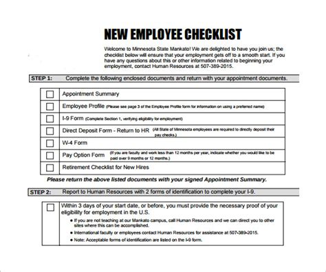 printable checklist template sample for new employee induction