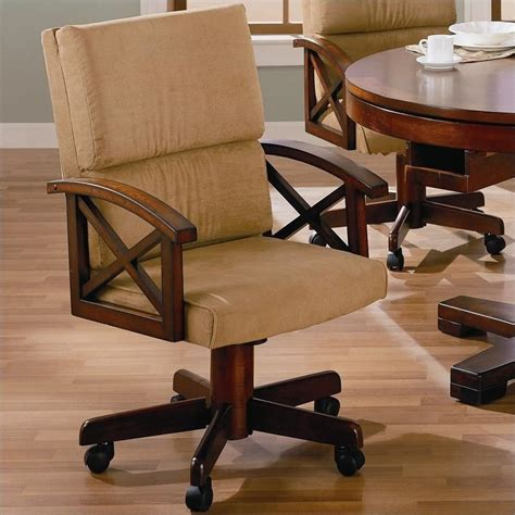 game table chairs with casters coaster marietta upholsted arm game chair with casters in