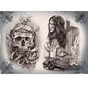 Skull Girl Gangsta Tattoo Stencil  Golfiancom