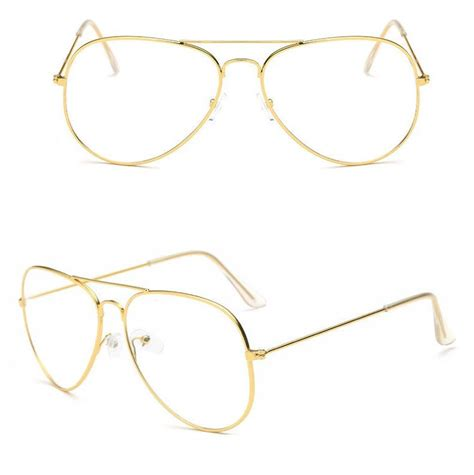 Aviator Frame Glasses gold clear lens aviator glasses classic pilot tear drop