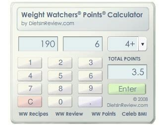 how to calculate your weight watchers points ww points calc 1 screenshots