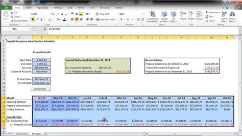 prepaid expense spreadsheet template prepaid expense amortization schedule walkthrough