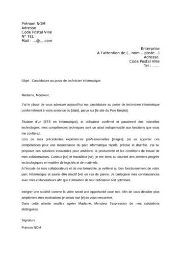 Lettre De Motivation école Informatique Lettre De Motivation Technicien Informatique Document 224 T 233 L 233 Charger Gratuitement