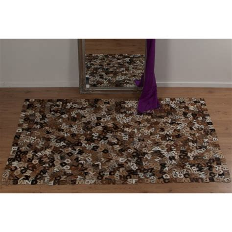 Real Rug Alphabet E16 Rectangular Cowhide Rug Leader Real Rugs