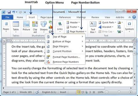 word insert section number add page numbers in word 2010