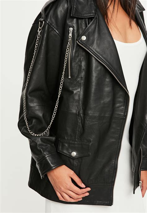 Jaket Black Premium List Abu lyst missguided premium black leather biker jacket in black