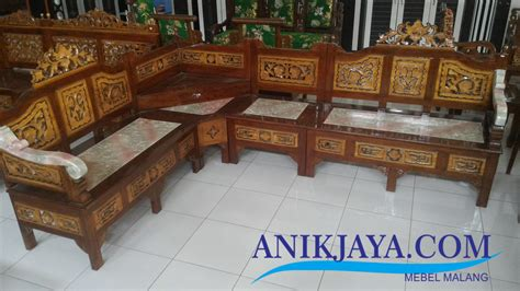 Kursi Kayu Jepara Kursi Kayu Jati Ukir Jepara L Set Desain Marmer Putih Mebel Anik Jaya Malang