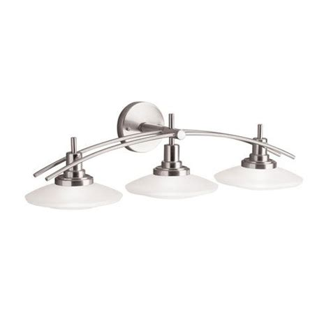bathroom light fixtures brushed nickel brushed nickel three light bath fixture kichler 3 light