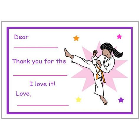 thank you letter to karate karate or martial arts fill in thank you notes for