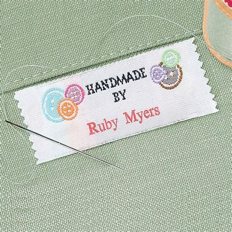 Handmade By Labels Personalised - made by personalized sewing label colorful images