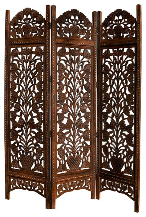 Room Dividers Or Screens Topiary Carved 3 Panel Screen Modern Screens And