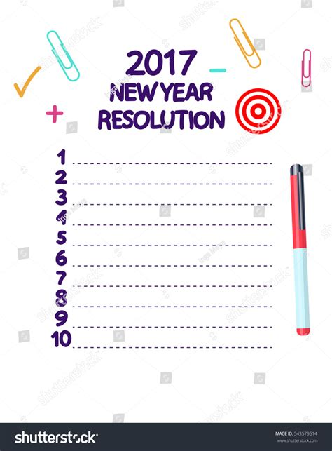 new year list illustration new year goals list vector stock vector
