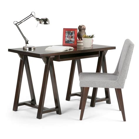 sawhorse desk simpli home sawhorse chestnut brown desk 3axcsaw 07s br the home depot