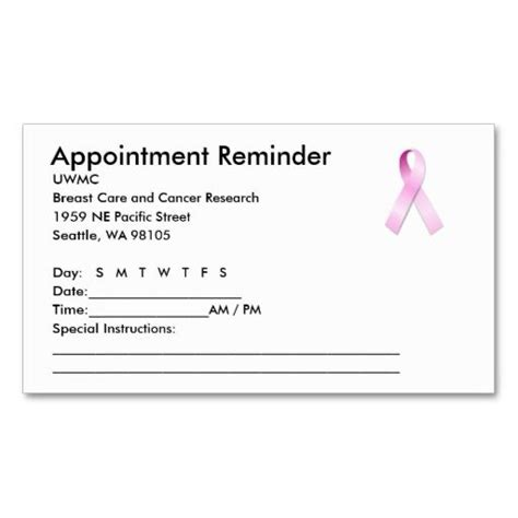 dental reminder card template pink ribbon appointment reminder business card pink