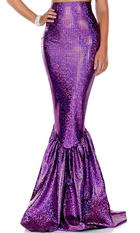 purple high waisted mermaid skirt with hologram finish