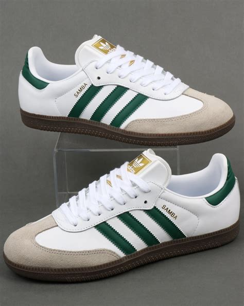 Adidas Originals Adidas Leather Green P 729 by Adidas Samba Og Trainers White Green Leather Shoes