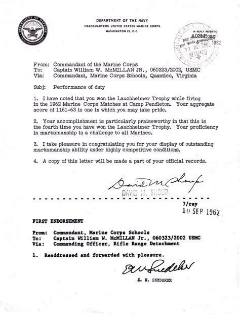 Usmc Endorsement Letter Format September 4 1962 Peformance Of Duty