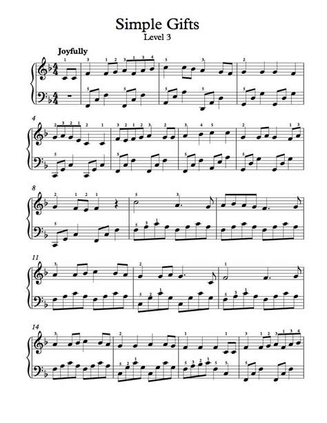 simple gift free piano arrangement sheet simple gifts