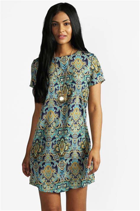 Print Shift Dress boohoo womens paisley print sleeve shift dress