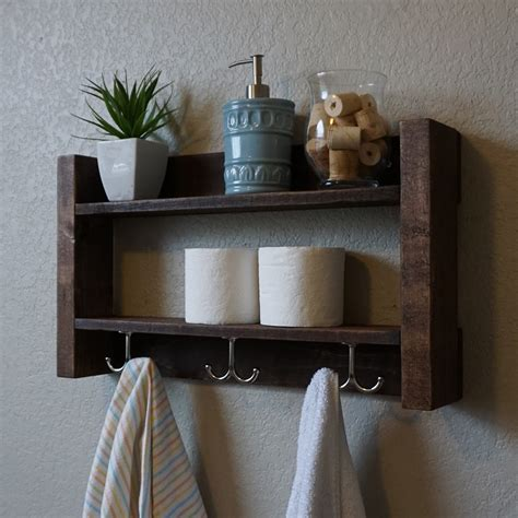 Bathroom Shelves With Hooks Modern Rustic 2 Tier Bathroom Shelf With Nickel Finish By Keodecor