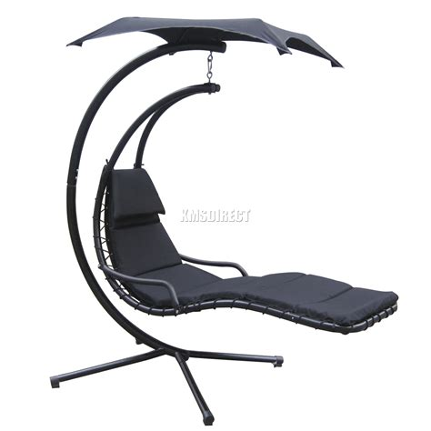 Black Hanging Chair by Foxhunter Garden Swing Hammock Helicopter Hanging Chair
