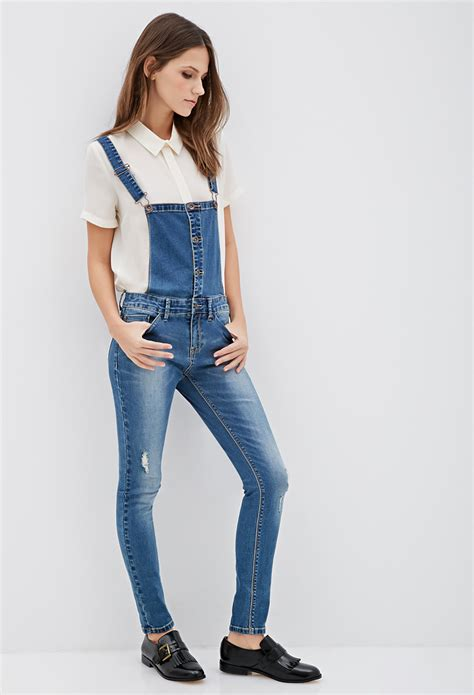 Forever 21s Luxe Big Twelve By Twelve Is Here by Forever 21 Distressed Denim Overalls In Blue Lyst