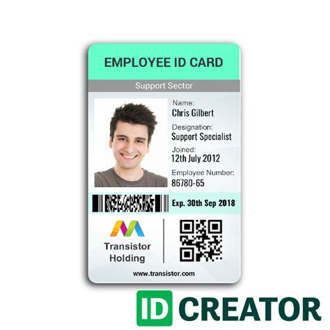 Service Identification Card Template by Vertical Employee Id Card Ships Same Day